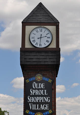 Olde Sproul Shopping Village clock tower