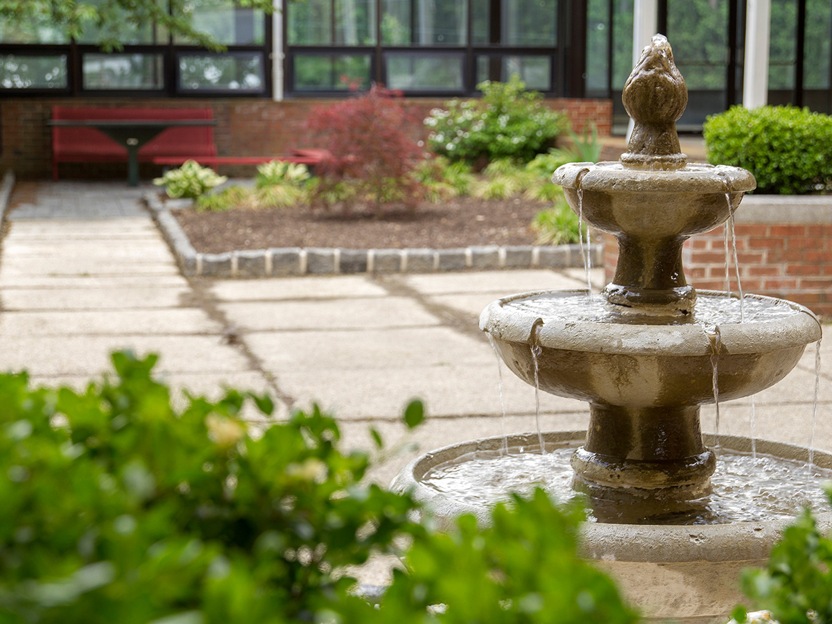 Courtyard with small fountain